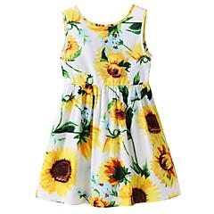 baratos Roupas de Meninas-Bébé Para Meninas Flor do sol Floral Sem Manga Vestido