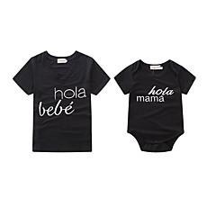 billige Sett med familieklær-Baby Mamma og meg Aktiv / Grunnleggende Daglig / Ferie Bokstaver Trykt mønster Kortermet Normal Spandex Body Svart Gutter 100