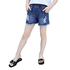 billige Jenteklær-Barn Jente Grunnleggende Ensfarget Bomull Shorts