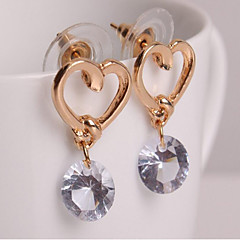 cheap -Women's Cubic Zirconia Solitaire Drop Earrings - Heart Simple, Sweet, Fashion Golden For Daily / Casual