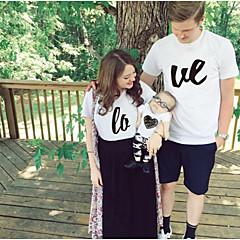 billige Sett med familieklær-Voksen Familie Look Grunnleggende Daglig Ensfarget / Bokstaver Kortermet Normal Polyester T-skjorte Hvit Gutter 100