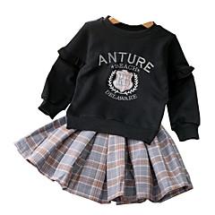 baratos Roupas de Meninas-Infantil / Bébé Para Meninas Sólido / Quadriculada Manga Longa Vestido