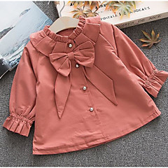 billige Jakker og frakker til piger-Baby Pige Basale Ensfarvet Langærmet Normal Polyester Trenchcoat Orange
