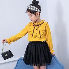 billige Pigetoppe-Børn Pige Aktiv / Gade I-byen-tøj Patchwork Drapering Langærmet Skjorte