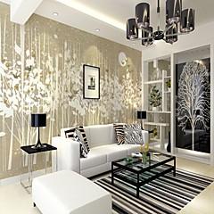 billige Tapet-fuglblomstarrangement leaf art map tilpasset veggdekning 3d veggmaleri tapet egnet for stue soverom