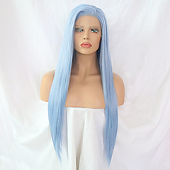 cheap Synthetic Lace Wigs-Synthetic Lace Front Wig Women's Straight Blue Side Part Synthetic Hair Designs Blue Wig Long Lace Front Light Blue / Yes
