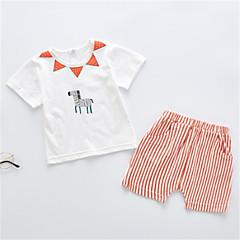 billige Tøjsæt til drenge-Baby Drenge Ensfarvet Kortærmet Tøjsæt