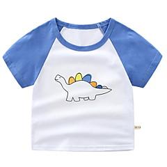 billige Overdele til drenge-Børn Drenge Basale Daglig Patchwork Trykt mønster Kortærmet Normal Bomuld T-shirt Blå
