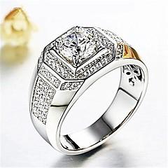 preiswerte Ringe-Herrn 3D Ring - Diamantimitate Stilvoll, Klassisch Schmuck Silber Für Hochzeit Alltag Maskerade Verlobungsfeier Abiball Verstellbar