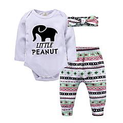 billige Sett med babyklær-Baby Pige Basale Ensfarvet Langærmet Tøjsæt