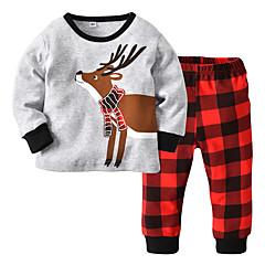 billige Babytøj-Baby Pige Afslappet / Aktiv Ensfarvet / Farveblok Trykt mønster Langærmet Bomuld Tøjsæt
