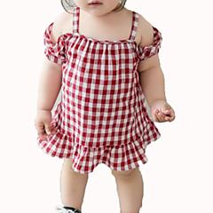 billige Babykjoler-Baby Pige Ternet Uden ærmer Kjole