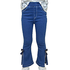 billige Bukser og leggings til piger-Børn Pige Basale / Gade Sport Ensfarvet Sløjfer / Delt Bomuld Jeans