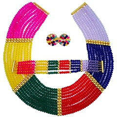 baratos Conjuntos de Bijuteria-Mulheres Camadas Conjunto de jóias - MOON Fashion Incluir Strands Necklace Vermelho / Verde / Champanhe Para Casamento