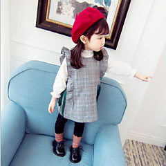 billige Sett med babyklær-Baby Pige Basale Daglig Ensfarvet Langærmet Normal Polyester Tøjsæt Gul 100