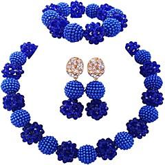 baratos Conjuntos de Bijuteria-Mulheres Fio Único Conjunto de jóias - Fashion Incluir Strands Necklace Verde / Rosa / Champanhe Para Festa