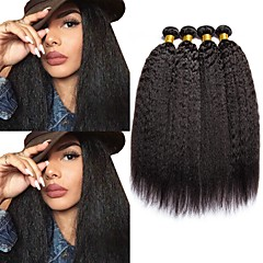 cheap Hair Extensions-4 Bundles Malaysian Hair Yaki 8A Human Hair Natural Color Hair Weaves / Hair Bulk Bundle Hair One Pack Solution 8-28 inch Natural Color Human Hair Weaves Best Quality Human Hair Extensions Women's