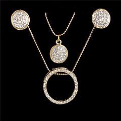 baratos Conjuntos de Bijuteria-Mulheres Zircônia cúbica Fashion / Contas Conjunto de jóias - Simples, Fashion, Elegante Incluir Brincos em Argola / Colar Dourado Para Encontro / Trabalho