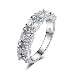 billige Motering-Dame Kubisk Zirkonium Elegant Ring - Platin Belagt, S925 Sterling Sølv Stilfull, trendy 6 / 7 / 8 Hvit Til Gave / Ferie