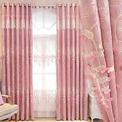 baratos Tratamentos para Janelas-Sólida Cortinas cortinas Dois Painéis 2*(W140cm×L259cm) Rosa claro / Bordado / Sala de Estar