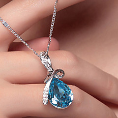 cheap Necklaces-Women's Crystal Pendant Necklace - Crystal, Silver Plated Drop, Teardrop Fashion, Elegant Red, Blue, Champagne Necklace Jewelry For Wedding, Party, Special Occasion