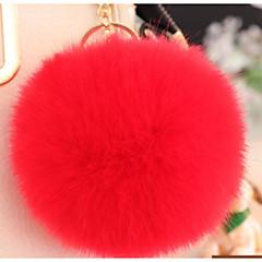 baratos Chaveiros-Bola Chaveiro Vermelho / Verde / Azul Claro Formato Circular Pêlo de Coelho, Liga Simples, Fashion Para Graduação / Encontro