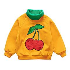 billige Hættetrøjer og sweatshirts til piger-Baby Pige Ensfarvet / Frugt Langærmet Hættetrøje og sweatshirt