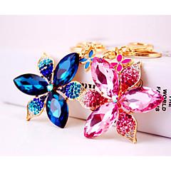 baratos Chaveiros-Flor Chaveiro Azul / Rosa escuro Irregular Zircão, Liga Doce, Colorido Para Presente / Encontro