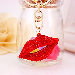 baratos Chaveiros-Lábios Chaveiro Vermelho Irregular Zircão, Liga Decorada com Pedrarias / Strass, Fashion Para Presente / Para Noite