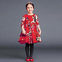 baratos Roupas de Meninas-Infantil / Bébé Para Meninas Floral Meia Manga Vestido
