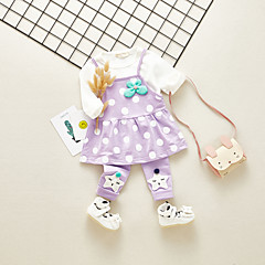 billige Babytøj-Baby Pige Vintage / Basale I-byen-tøj Prikker Drapering Langærmet Bomuld Tøjsæt