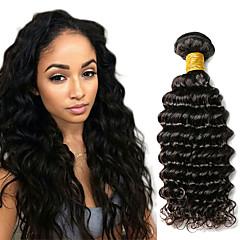 Χαμηλού Κόστους Εξτένσιος μαλλιών με ανταύγιες-1 δέσμη Ινδική Βαθύ Κύμα Φυσικά μαλλιά Υφάνσεις ανθρώπινα μαλλιών 10-20 inch Υφάνσεις ανθρώπινα μαλλιών Επεκτάσεις ανθρώπινα μαλλιών