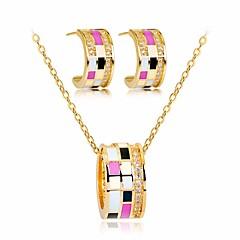 baratos Conjuntos de Bijuteria-Mulheres Zircônia cúbica Fashion Rolo Conjunto de jóias - Doce, Elegante, Colorido Incluir Colar Brinco Dourado Para Diário Encontro