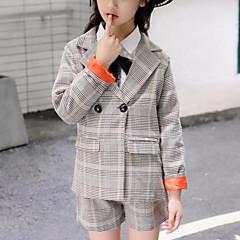 billige Tøjsæt til piger-Børn Pige Ternet Langærmet Tøjsæt