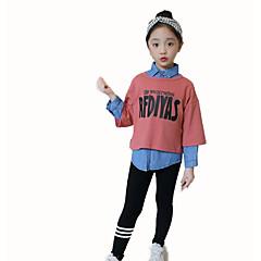 billige Tøjsæt til piger-Børn Pige Basale Skole Geometrisk Langærmet Bomuld Tøjsæt