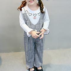billige Sett med babyklær-Baby Pige Basale Daglig Trykt mønster / Ternet Langærmet Normal Bomuld / Polyester Tøjsæt Lysebrun 100