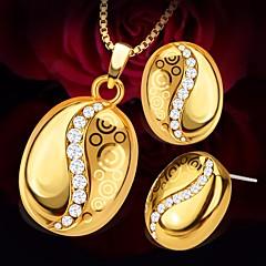 baratos Conjuntos de Bijuteria-Mulheres Zircônia cúbica Clássico Conjunto de jóias - Criativo Simples, Geométrico, Fashion Incluir Colar Brinco Dourado Para Encontro Bagels / Brincos