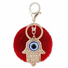 baratos Chaveiros-Olhos Chaveiro Roxo / Vermelho / Azul Forma Geométrica, Mão Hamsa, Mau Olhado Zircão, Pêlo de Coelho, Liga Casual, Fashion Para Presente / Encontro