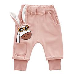 billige Babyunderdele-Baby Pige Vintage Ensfarvet Bomuld Bukser