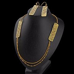 baratos Conjuntos de Bijuteria-Mulheres Contas Conjunto de jóias - Importante, Original, Na moda Incluir Brincos em Argola / Colar Dourado Para Formal / Bandagem