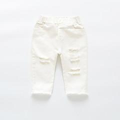 billige Bukser og leggings til piger-Børn Pige Vintage Ensfarvet Bomuld Bukser Hvid 100