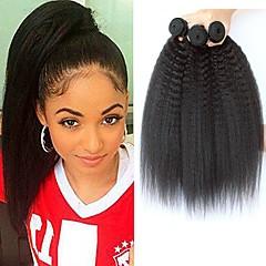 3 Bundles Malaysian Hair Yaki 8A Human Hair Natural Color Hair Weaves   Hair  Bulk Extension Bundle Hair 8-28 inch Natural Human Hair Weaves Best Quality  ... 4a11c70531