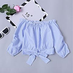 billige Hættetrøjer og sweatshirts til piger-Børn Pige Basale / Gade I-byen-tøj Ensfarvet Sløjfer Langærmet Kort Bomuld Skjorte