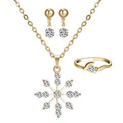 baratos Conjuntos de Bijuteria-Mulheres Clássico Conjunto de jóias - Floco de Neve Estiloso, Clássico Incluir Brincos Curtos Colar Anel Dourado Para Diário