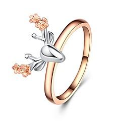 billige Motering-Dame Skulptur Ring - Gullplatert rose Elk, Blomst Klassisk, Tegneserie 6 / 7 / 8 / 9 / 10 Rose Gull Til Jul Festival