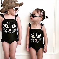 billige Badetøj til piger-Børn Pige Basale Strand Trykt mønster Trykt mønster Uden ærmer Polyester Badetøj Sort