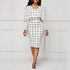 رخيصةأون وصلنا حديثاً-فستان نسائي ثوب ضيق كشكش طول الركبة شيك V رقبة مناسب للخارج / عمل
