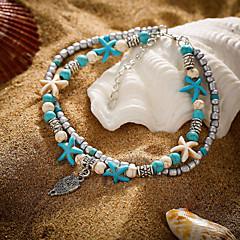baratos Bijoux de Corps-Turquesa Camadas tornozeleira - Resina Coruja, Estrela do Mar Étnico Azul Para Diário Rua Para Noite Mulheres