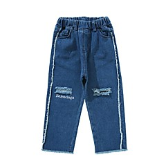 baratos Roupas de Meninos-Infantil Para Meninos Activo Diário Sólido Buraco / Patchwork Algodão / Poliéster Jeans Azul
