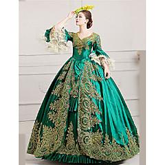 마리 앙투아 네트 로코코 18 세기 코스츔 여성용 드레스 파티 코스튬 가면 볼 드레스 그린 빈티지 코스프레 레이스 공단 파티 댄스 파티 포엣 바닥 길이 볼 드레스 플러스 사이즈 사용자 정의